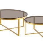 שולחן סלון דגם HF-YC25 (זהב+ חום)GOLD