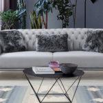ספה ברצלונה תלת אפור מעושן V-29(רגל ניקל)