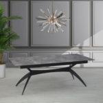 שולחן טסלה(TESLA) פלטה בטון רגל שחור